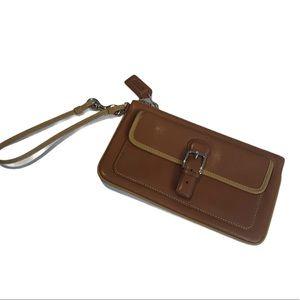 Coach leather camel wristlet zippered